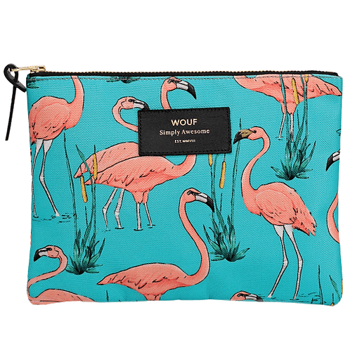 PINK FLAMINGOS ZIPPED LARGE POUCH
