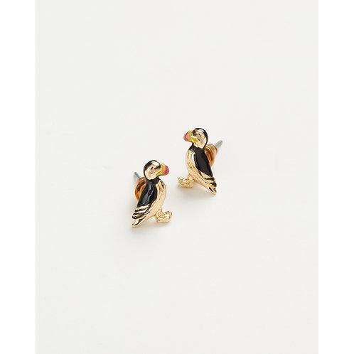 Enamel Puffin Stud Earrings
