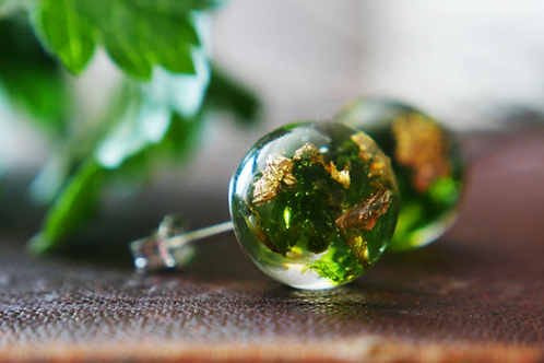 SCOTTISH FOREST MOSS & GOLD STERLING SILVER STUD EARRINGS