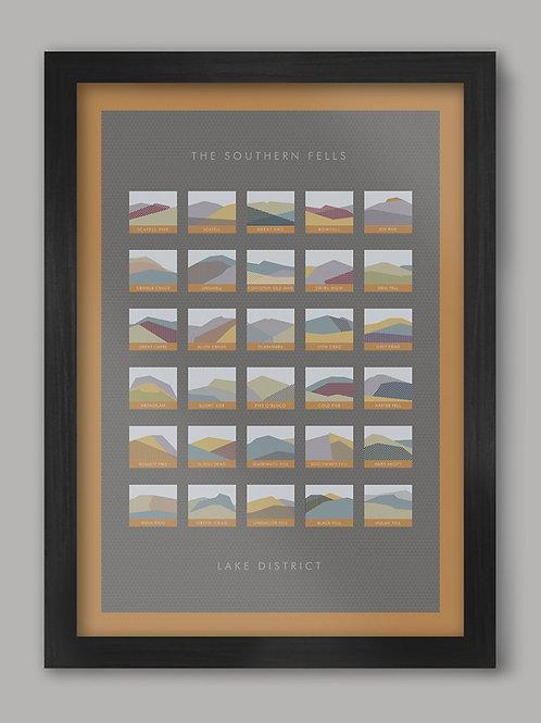 Southern Fells Lake District Geometric Poster print A3 FRAMED