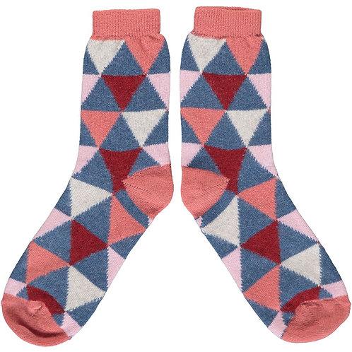 Ladies Pink & Blue Triangle Lambswool Ankle Socks