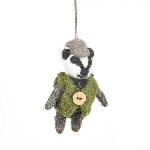 Handmade Needle Felt Barry Badger Hanging Decoration