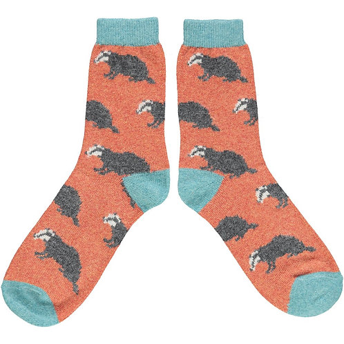 Ladies Rusty Badger Lambswool Ankle Socks