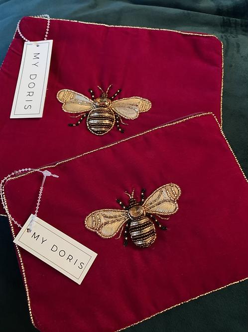 Bee wash bag/ makeup bag magenta