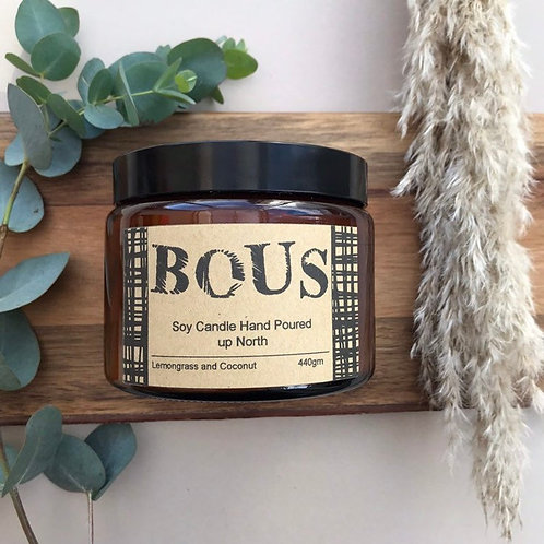 BOUS LEMONGRASS AND COCONUT - HAND POURED CANDLE - SOY CANDLE
