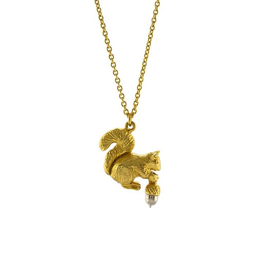 SQUIRREL & ACORN NECKLACE GOLD PLATED