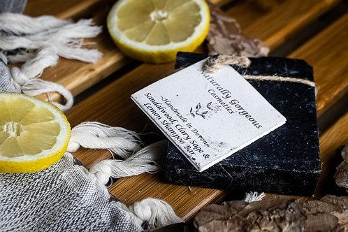 Shampoo bar - sandalwood, clary sage & lemon with activated charcoal 100g