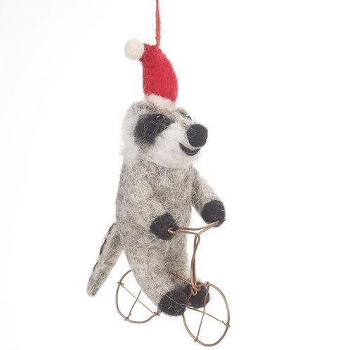 Handmade Felt BiodChristmas Racooon on Bike Hanging Decoration