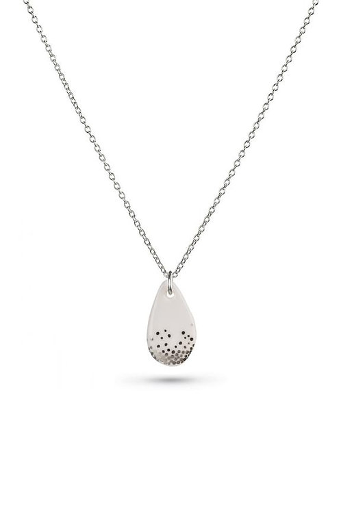 Porcelain White Raindrop Silver Necklace