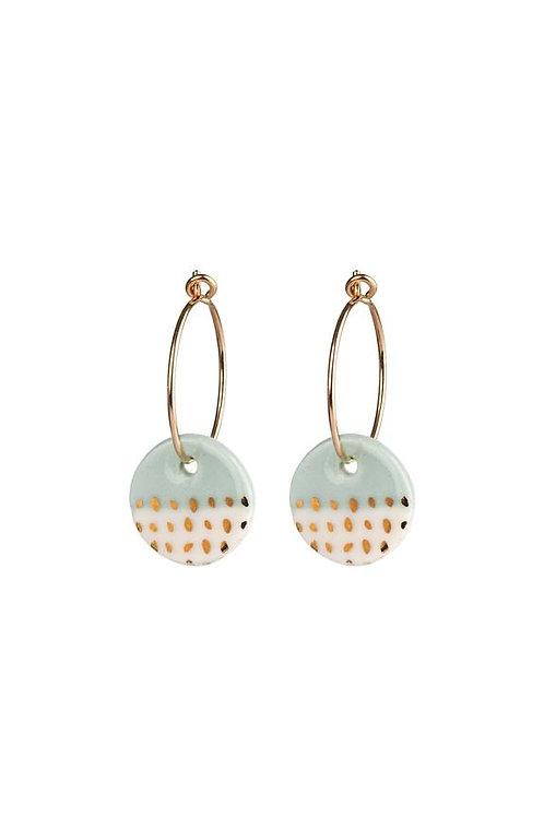 Porcelain Mint Paloma Gold Earrings