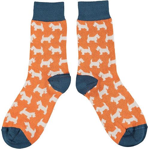 Ladies Orange & Grey Scottie Dog Cotton Ankle Socks