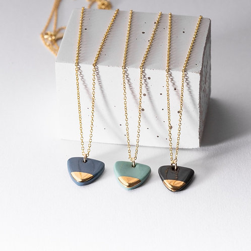 Porcelain Steel Grey Arrow Gold Necklace