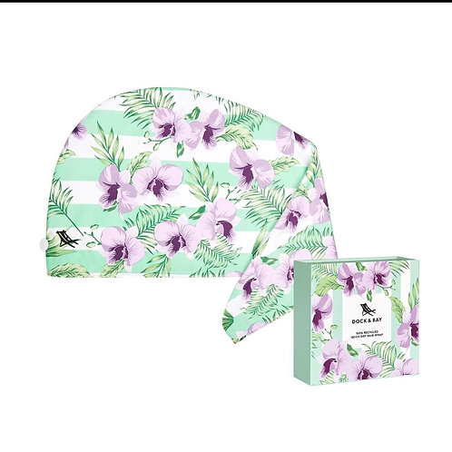 Quick dry hair wrap orchid botanical design