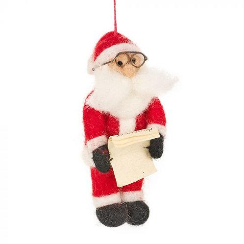 Handmade Felt Naughty or Nice Santa Hanging Christmas Decoration