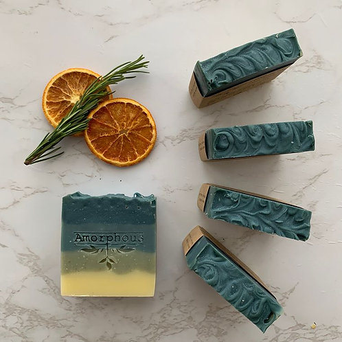 DEATH IN THE AFTERNOON VEGAN SOAP, WITH ROSEMARY, CLARY SAGE AND LEMON.