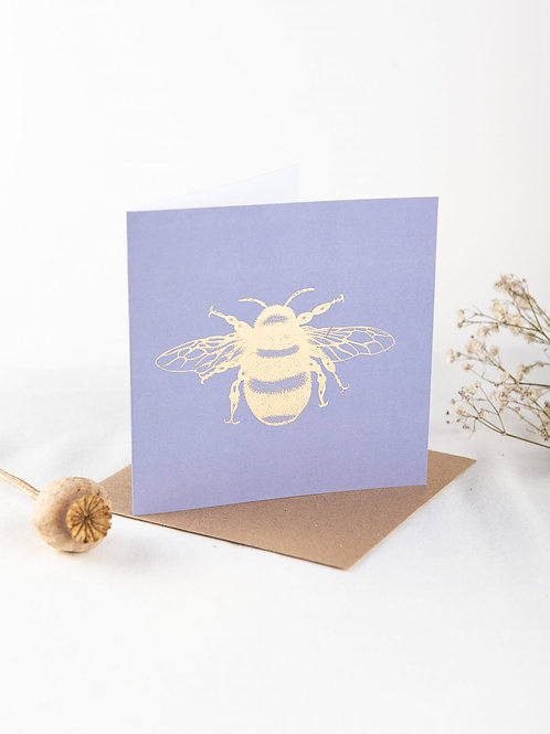 Lavender & Geranium Foil Bee Greeting Card