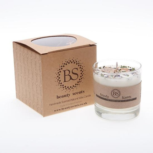LARGE LAVENDER SCENTED SOY WAX CANDLE WITH WILD FLOWERS IN GLASS CONTAINER