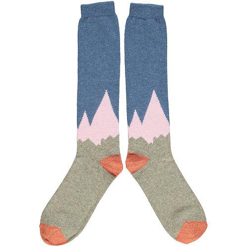 Ladies Sage & Pink Mountain Lambswool Knee Socks