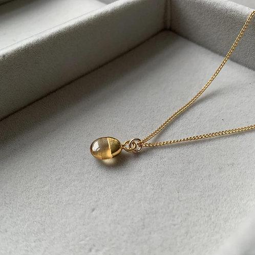 Tiny Tumbled Gemstone Necklace - Citrine (Success & Creativity)