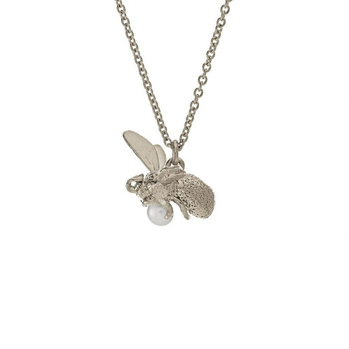 Flying Bee with Pearl Necklace silver