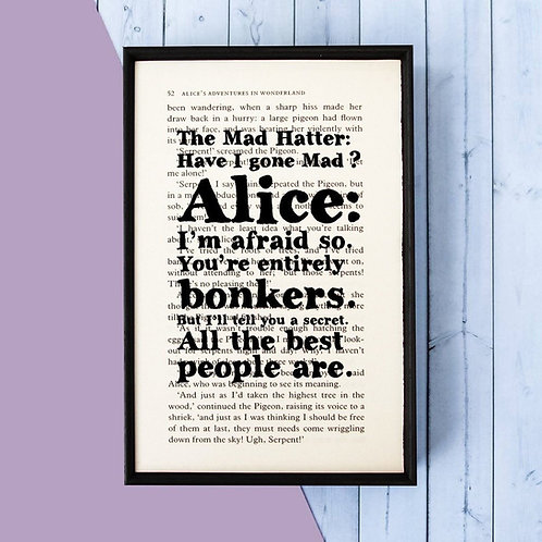 ALICE IN WONDERLAND BOOK PRINT