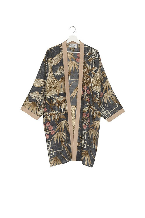 ONE HUNDRED STARS BAMBOO SLATE COLLAR KIMONO