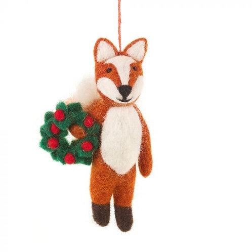Handmade Felt Finley the Festive Fox Hanging Decoration Christmas Characters