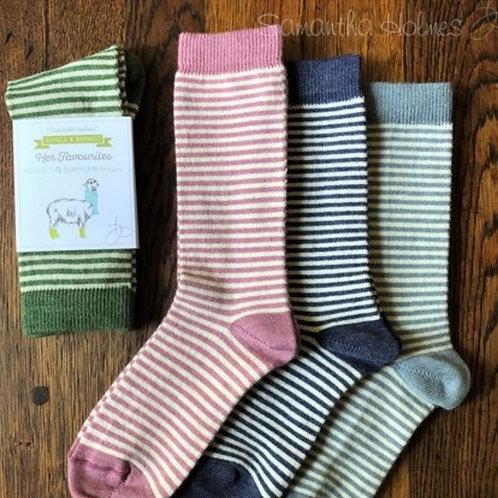 Ladies Stripey Alpaca Socks