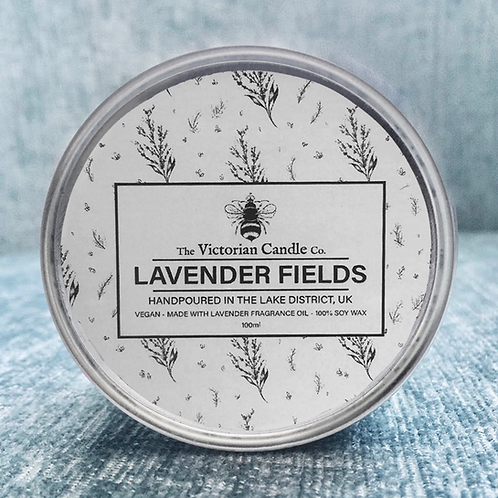 Lavender Fields tin candle