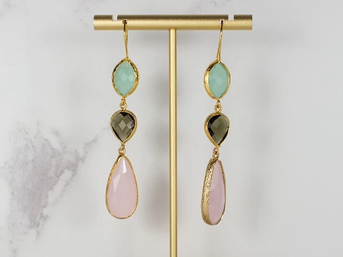 AQUA LABRADORITE AND ROSE TRIPLE DROPS