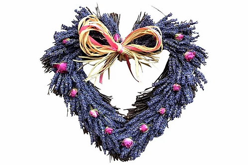 Lavender and Rose Buds Twig Heart 28cm