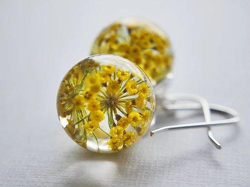 Fennel pollen sterling silver resin sphere drop earrings