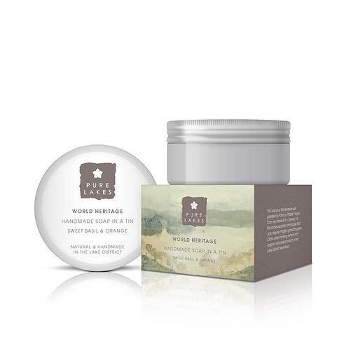 SWEET BASIL & ORANGE HANDMADE SOAP IN A TIN