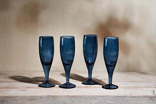 YALA HAMMERED CHAMPAGNE GLASS - INDIGO SET OF 4