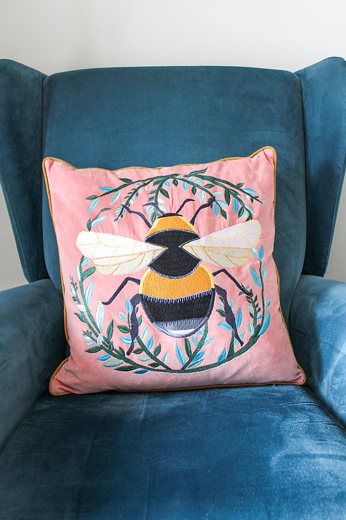 VELVET BLUSH PINK EMBROIDERED BUMBLE BEE CUSHION