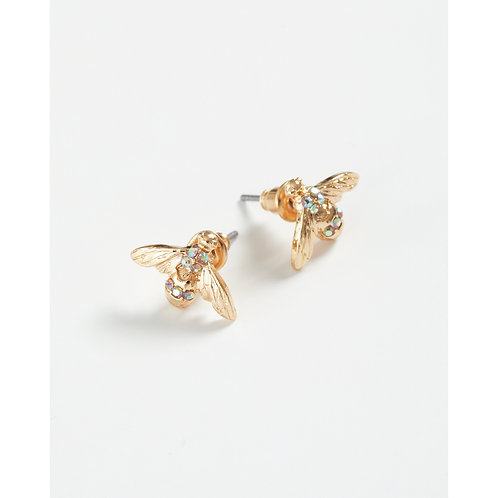 Gold Pave Stud Earrings - Yellow Hanging