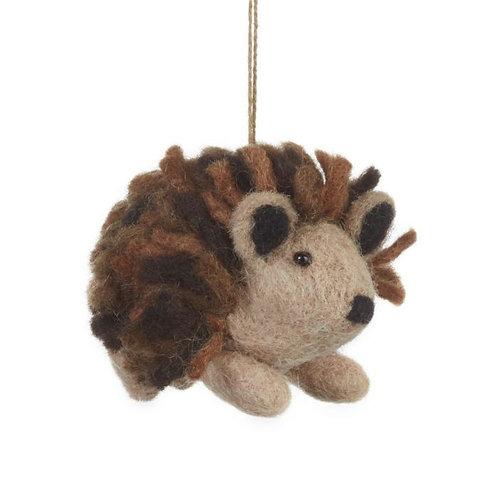 Handmade Felt Brown Hedgehog Hanging Biodegradable Decoration