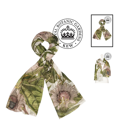 One Hundred Stars Kew Passion Flower Ivory Scarf