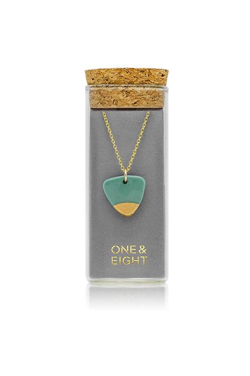 Porcelain Sage Arrow Gold Necklace
