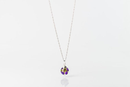 Real wild geranium sterling silver resin sphere 18 inch necklace