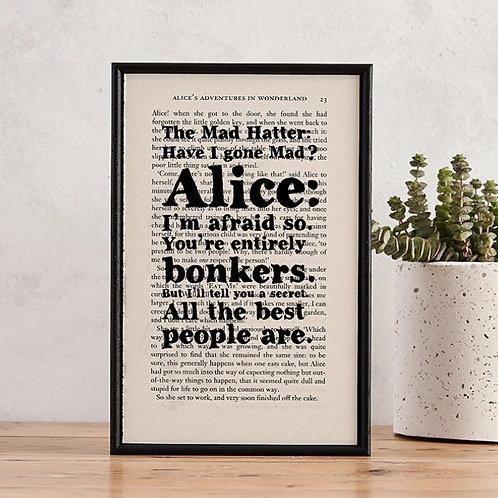 "ALICE IN WONDERLAND ""BONKERS"" BOOK PAGE PRINT"