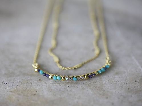 Aja Lolite, Labradorite and Calcydon Necklace