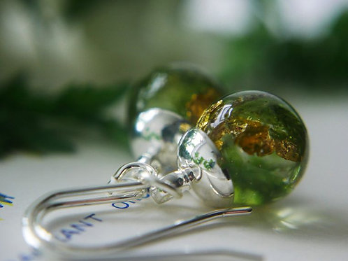 English Moss and Gold Sterling Silver Drop Earrings - collected sustainably