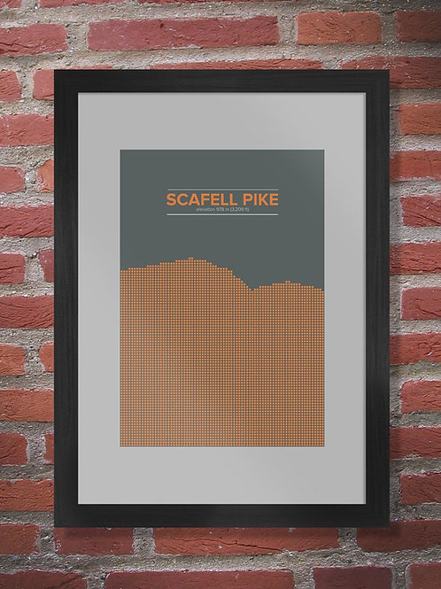 Scafell Pike Poster Print - The Lake District A3 FRAMED