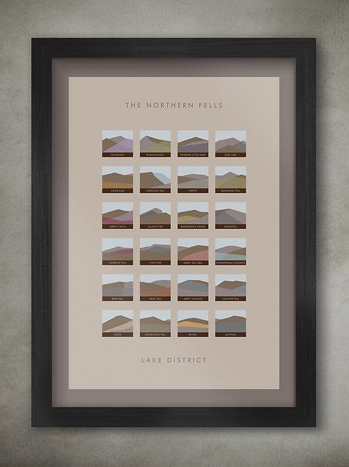 Northern Fells - Lake District Geometric Print A3 FRAMED