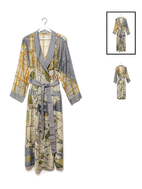 One Hundred Stars New York City Grey Map Gown
