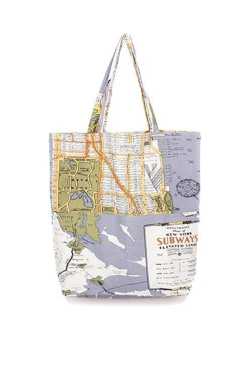 New York Grey Map Bag