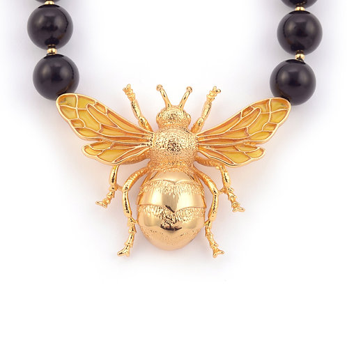 QUEEN BEE STATEMENT NECKLACE - ONYX