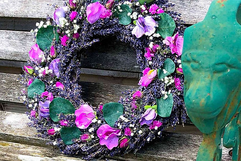SWEET PEA AND LAVENDER WREATH