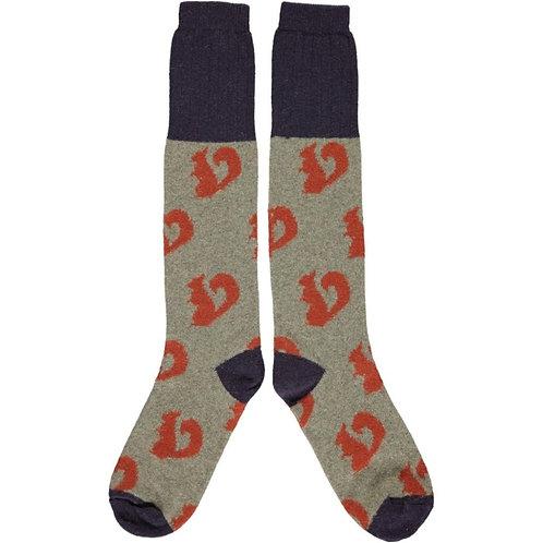 Ladies Sage & Orange Squirrel Lambswool knee high Socks